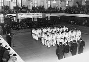 昭和29年11月28日、旧講道館、第6回早慶柔道対抗戦初優勝。開会式