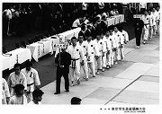 昭和50年5月25日、第25回東京学生柔道優勝大会入場式(於日本武道館)