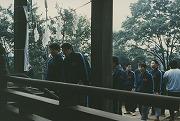 昭和60年、第37回早慶対抗柔道戦当日の朝、必勝祈願で駒林神社詣で