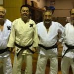1月9日寒稽古4日目。昭和39年中川先輩、昭和58年森先輩、安藤先生、昭和51年對馬先輩